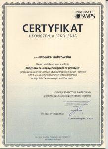 Certyfikat diagnoza neuropsychologiczna str.1