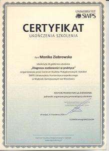 certyfikat diagnoza osobowości 1 str