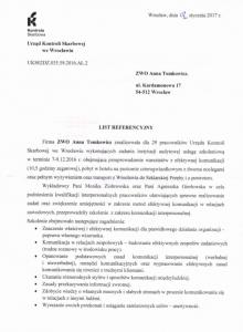 referencje Urząd Kontroli Skarbowej 1 str